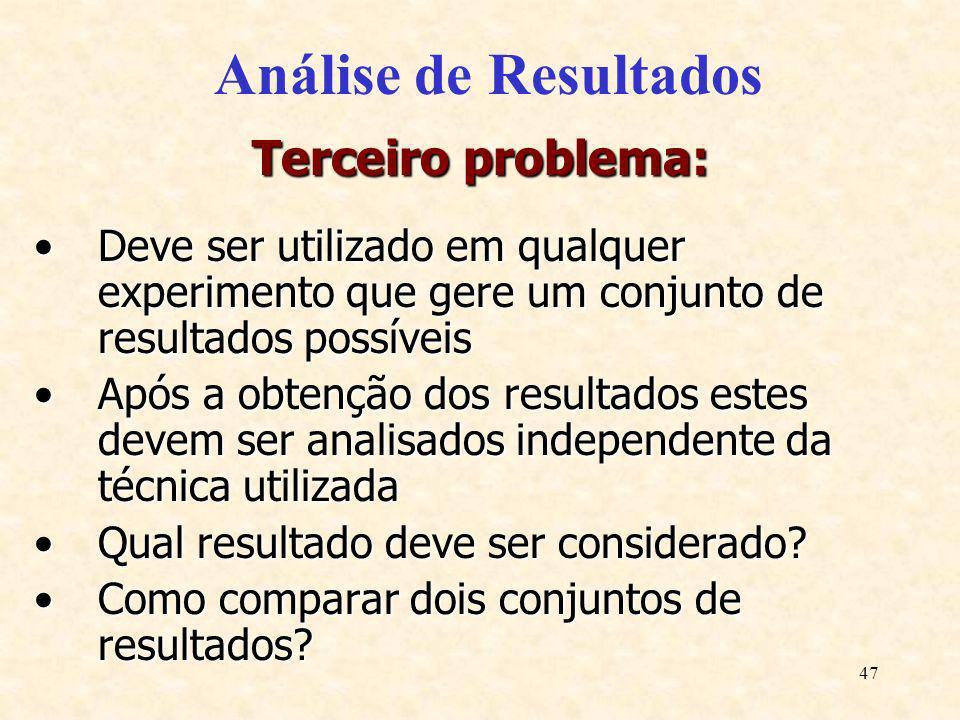 47 Análise de Resultados Terceiro problema: Deve ser utilizado em qualquer experimento que gere um conjunto de resultados possíveisDeve ser utilizado