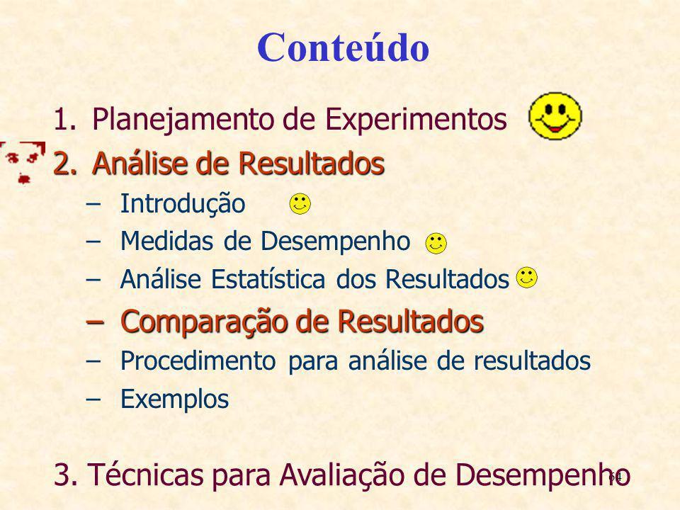 64 Conteúdo 1.Planejamento de Experimentos 2.Análise de Resultados –Introdução –Medidas de Desempenho –Análise Estatística dos Resultados –Comparação