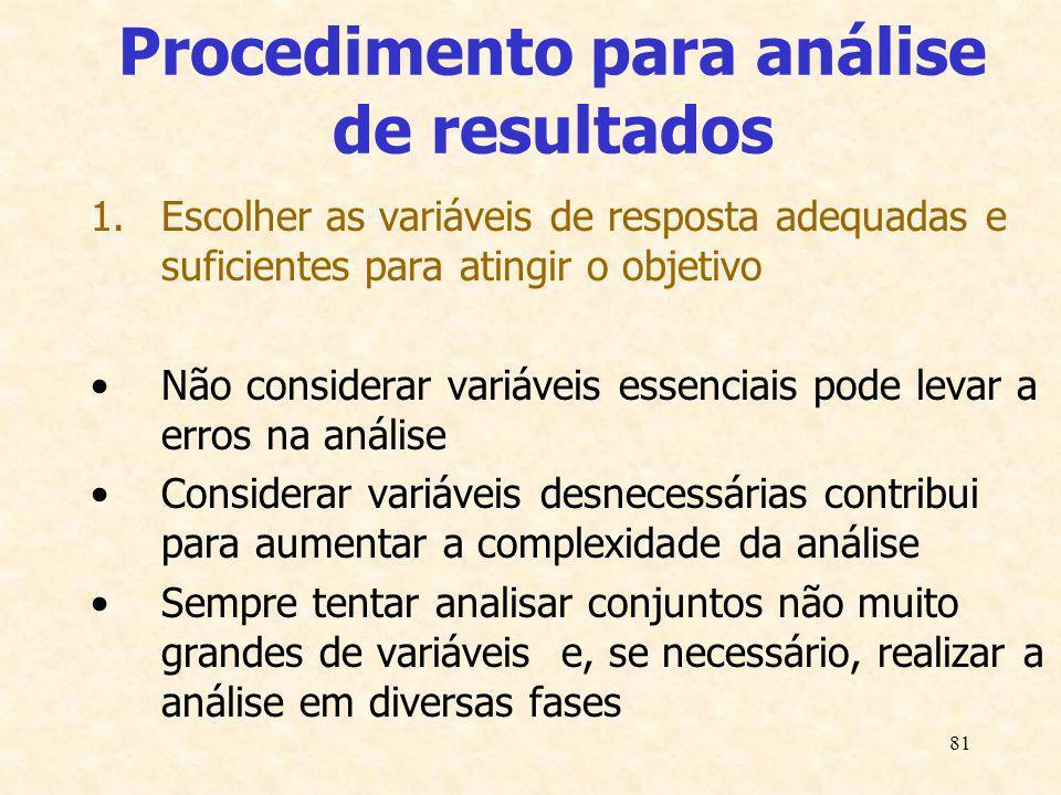 81 Procedimento para análise de resultados 1.Escolher as variáveis de resposta adequadas e suficientes para atingir o objetivo Não considerar variávei