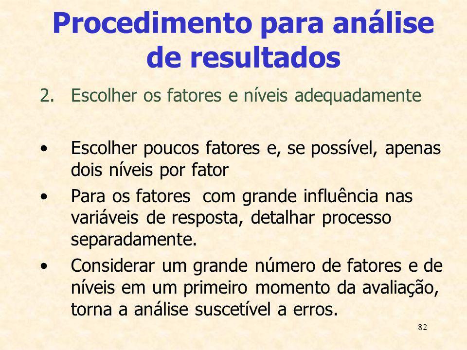 82 Procedimento para análise de resultados 2.Escolher os fatores e níveis adequadamente Escolher poucos fatores e, se possível, apenas dois níveis por