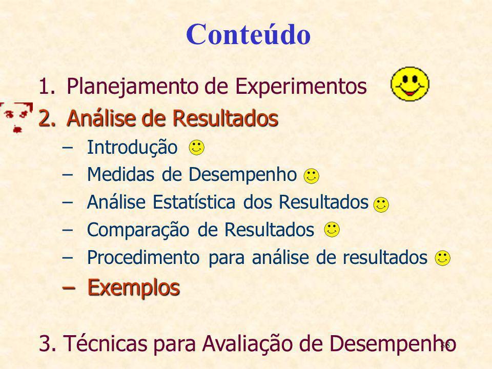 88 Conteúdo 1.Planejamento de Experimentos 2.Análise de Resultados –Introdução –Medidas de Desempenho –Análise Estatística dos Resultados –Comparação