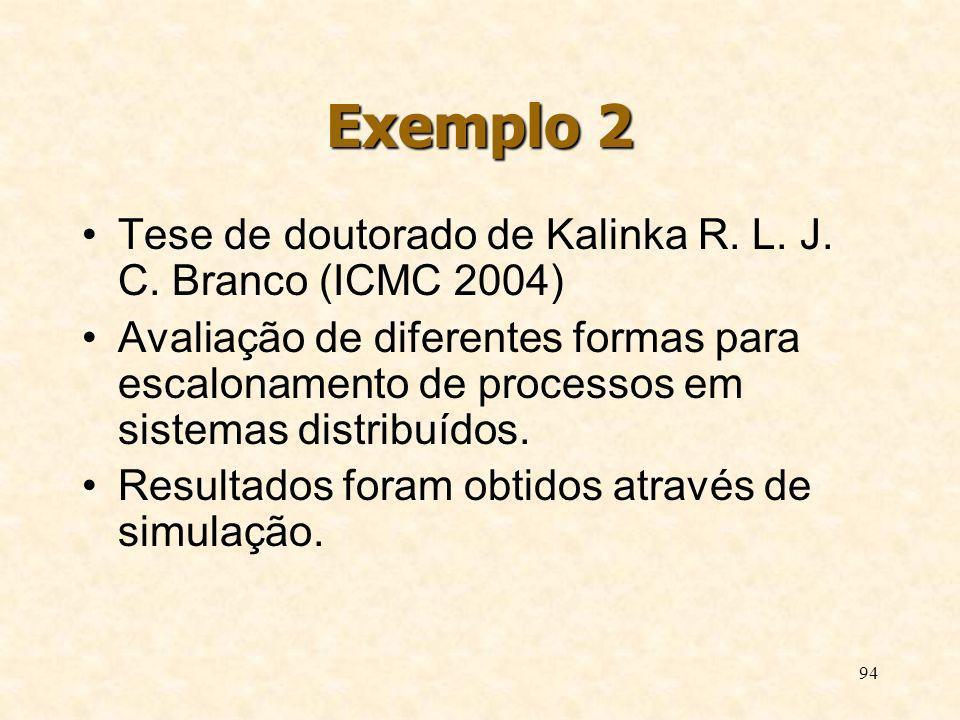 94 Exemplo 2 Tese de doutorado de Kalinka R. L. J. C. Branco (ICMC 2004) Avaliação de diferentes formas para escalonamento de processos em sistemas di