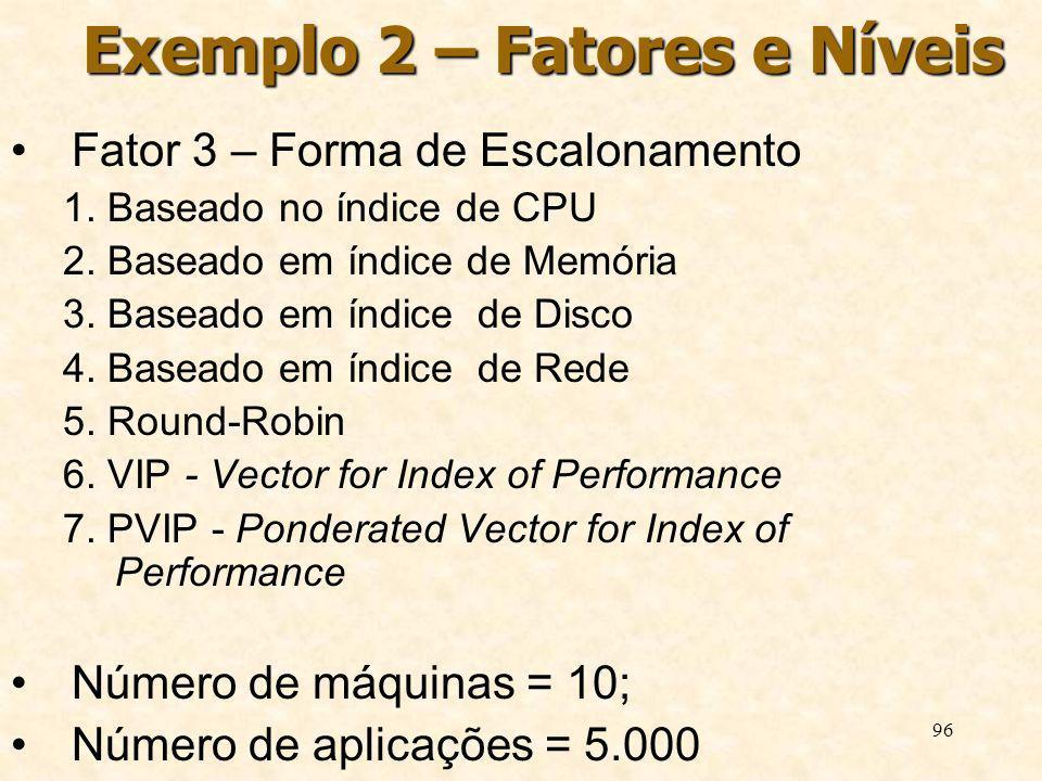 96 Exemplo 2 – Fatores e Níveis Fator 3 – Forma de Escalonamento 1. Baseado no índice de CPU 2. Baseado em índice de Memória 3. Baseado em índice de D