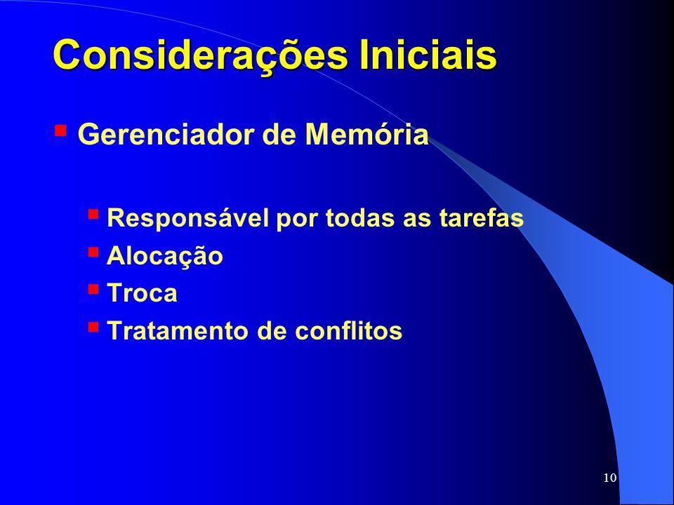 10 Considerações Iniciais Gerenciador de Memória Responsável por todas as tarefas Alocação Troca Tratamento de conflitos