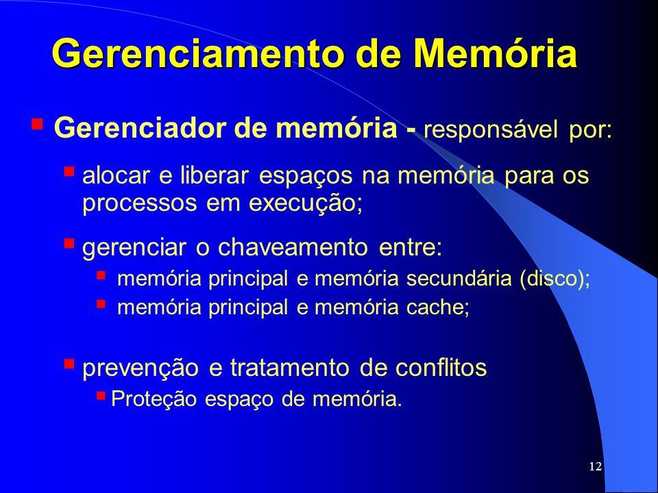 12 Gerenciamento de Memória Gerenciador de memória - responsável por: alocar e liberar espaços na memória para os processos em execução; gerenciar o c