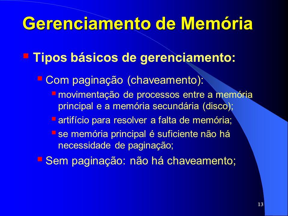 13 Gerenciamento de Memória Tipos básicos de gerenciamento: Com paginação (chaveamento): movimentação de processos entre a memória principal e a memór