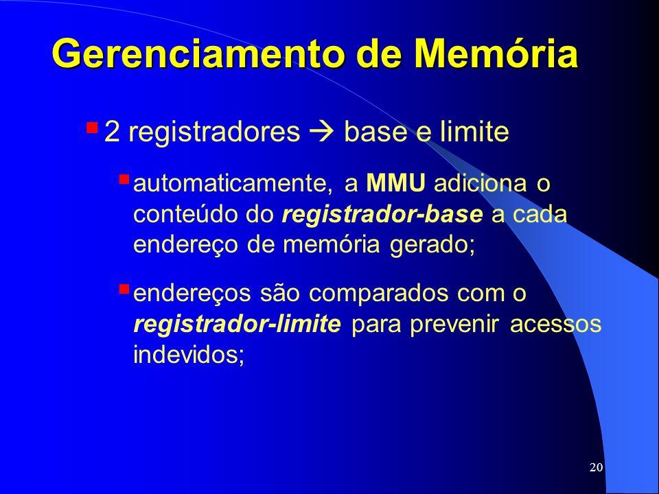 20 Gerenciamento de Memória 2 registradores base e limite automaticamente, a MMU adiciona o conteúdo do registrador-base a cada endereço de memória ge