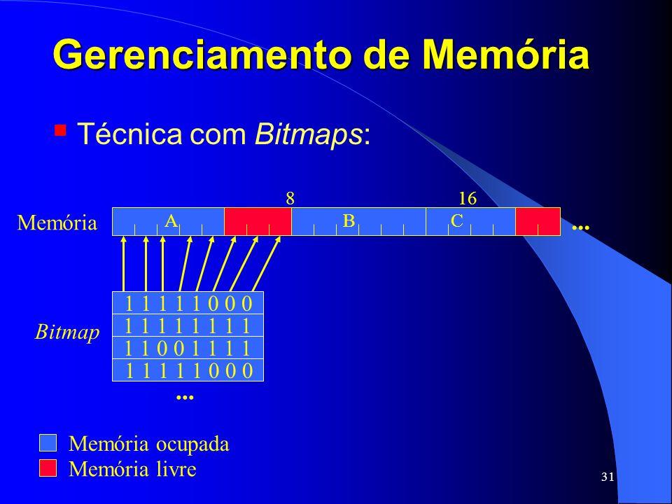 31 Gerenciamento de Memória Técnica com Bitmaps: Memória livre 816 ABC... Memória 1 1 1 1 1 0 0 0 1 1 0 0 1 1 1 1 1 1 1 1... 1 1 1 1 1 0 0 0 Bitmap Me