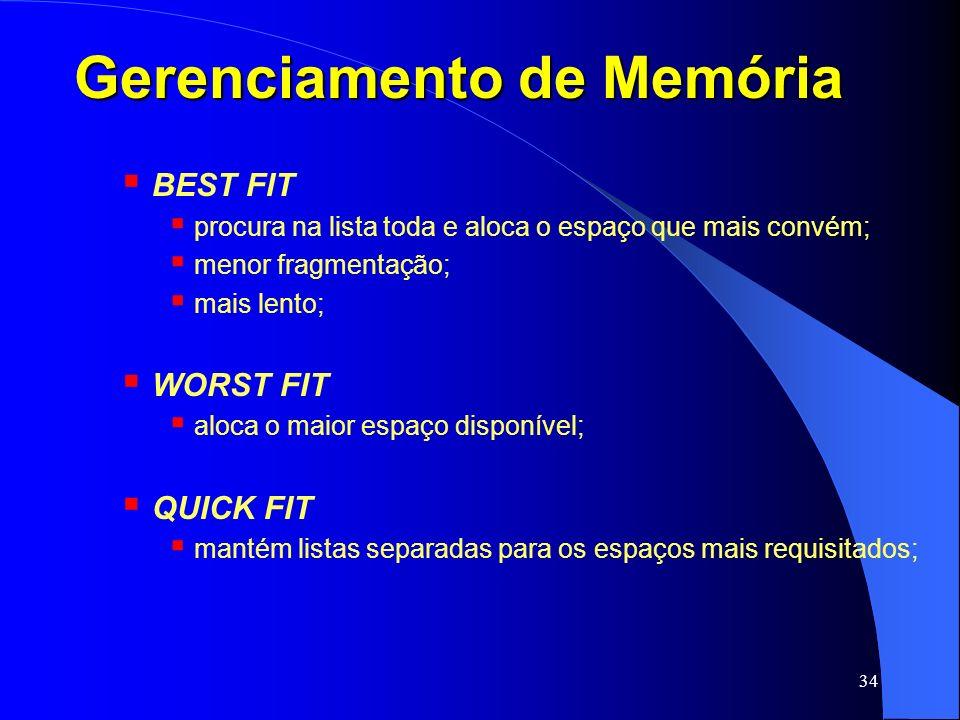 34 Gerenciamento de Memória BEST FIT procura na lista toda e aloca o espaço que mais convém; menor fragmentação; mais lento; WORST FIT aloca o maior e