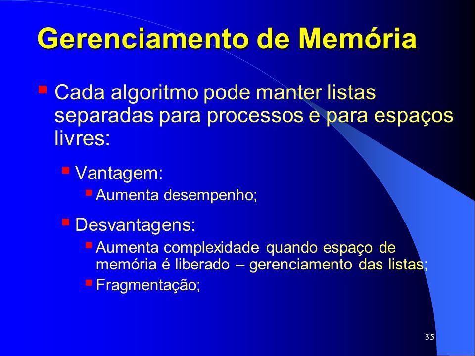 35 Gerenciamento de Memória Cada algoritmo pode manter listas separadas para processos e para espaços livres: Vantagem: Aumenta desempenho; Desvantage