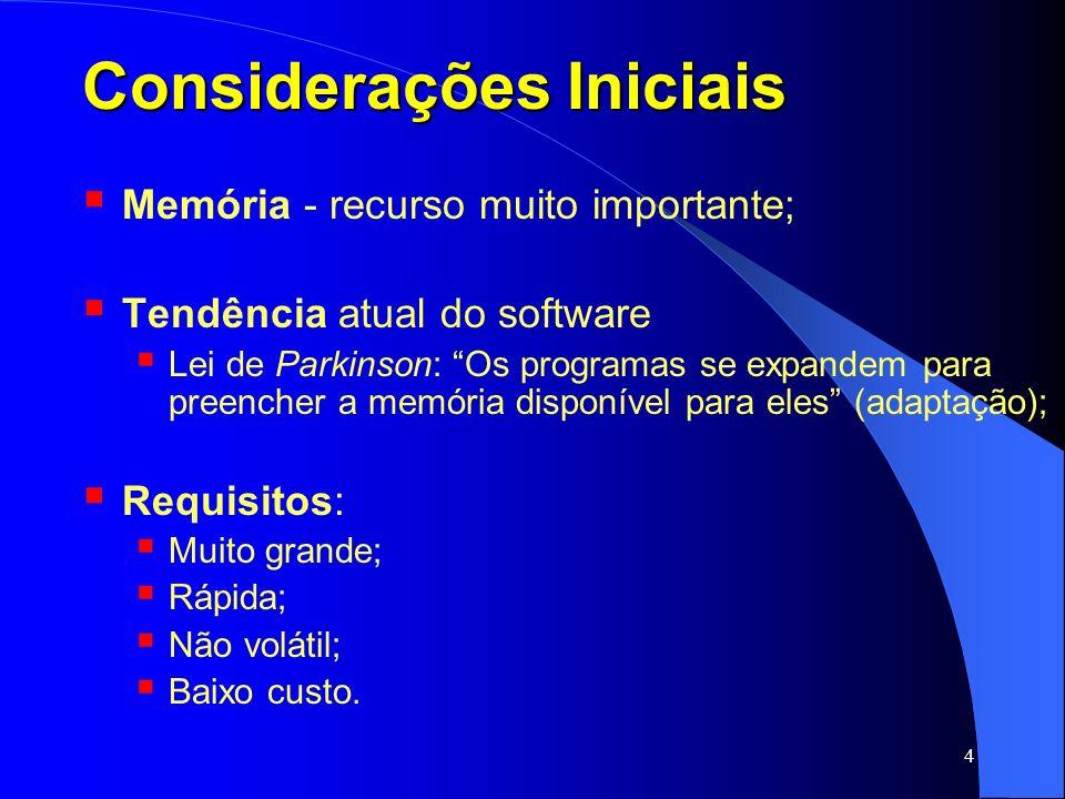 5 Considerações Iniciais Hierarquia de Memória: organização visando a velocidade e capacidade Cache (vários sub-níveis – RAM estática) Memória Principal (RAM dinâmica) Memória Secundária (disco magnético)