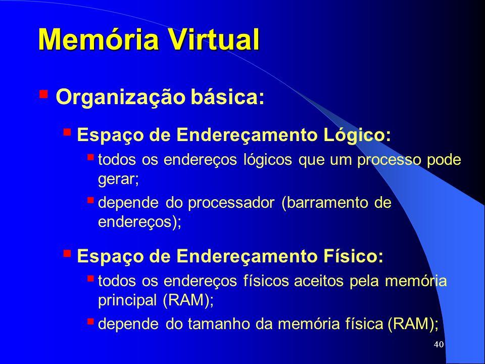 40 Memória Virtual Organização básica: Espaço de Endereçamento Lógico: todos os endereços lógicos que um processo pode gerar; depende do processador (