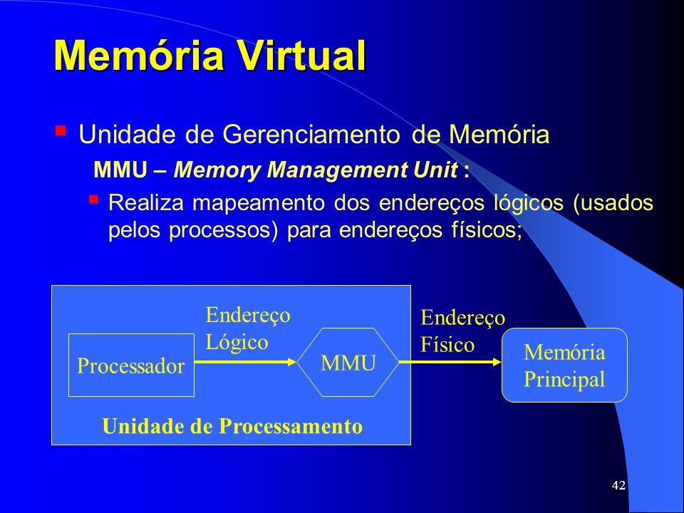 42 Memória Virtual Unidade de Gerenciamento de Memória MMU – Memory Management Unit : Realiza mapeamento dos endereços lógicos (usados pelos processos