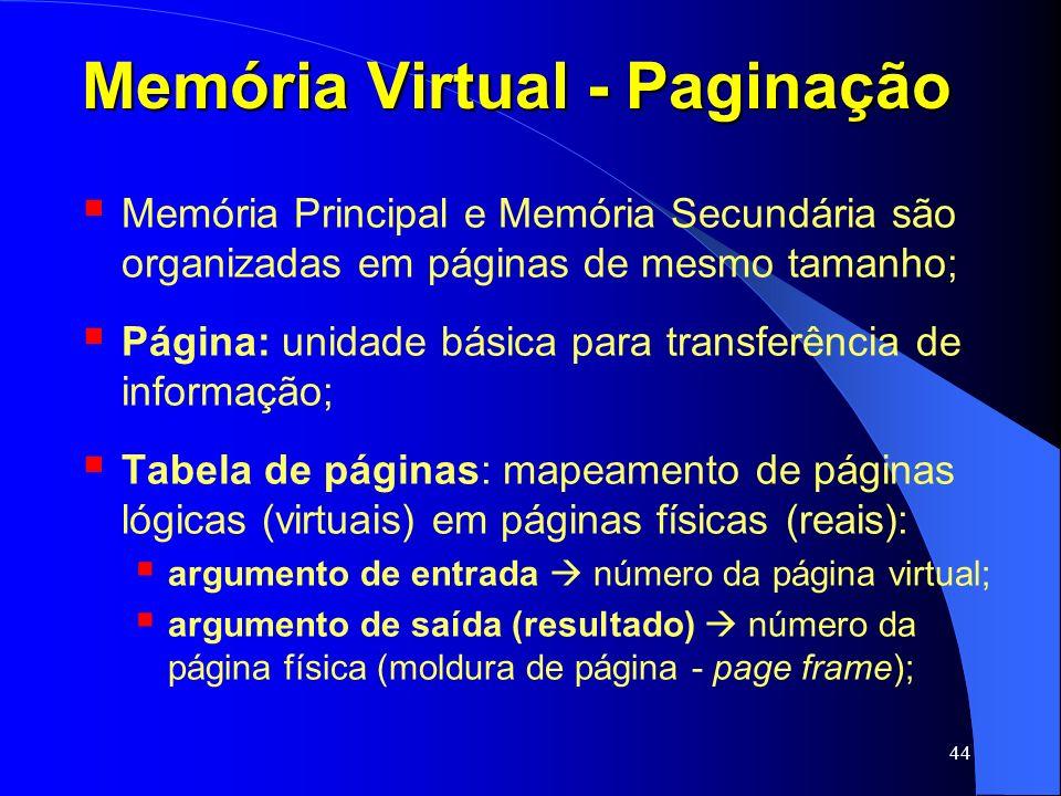 44 Memória Virtual - Paginação Memória Principal e Memória Secundária são organizadas em páginas de mesmo tamanho; Página: unidade básica para transfe