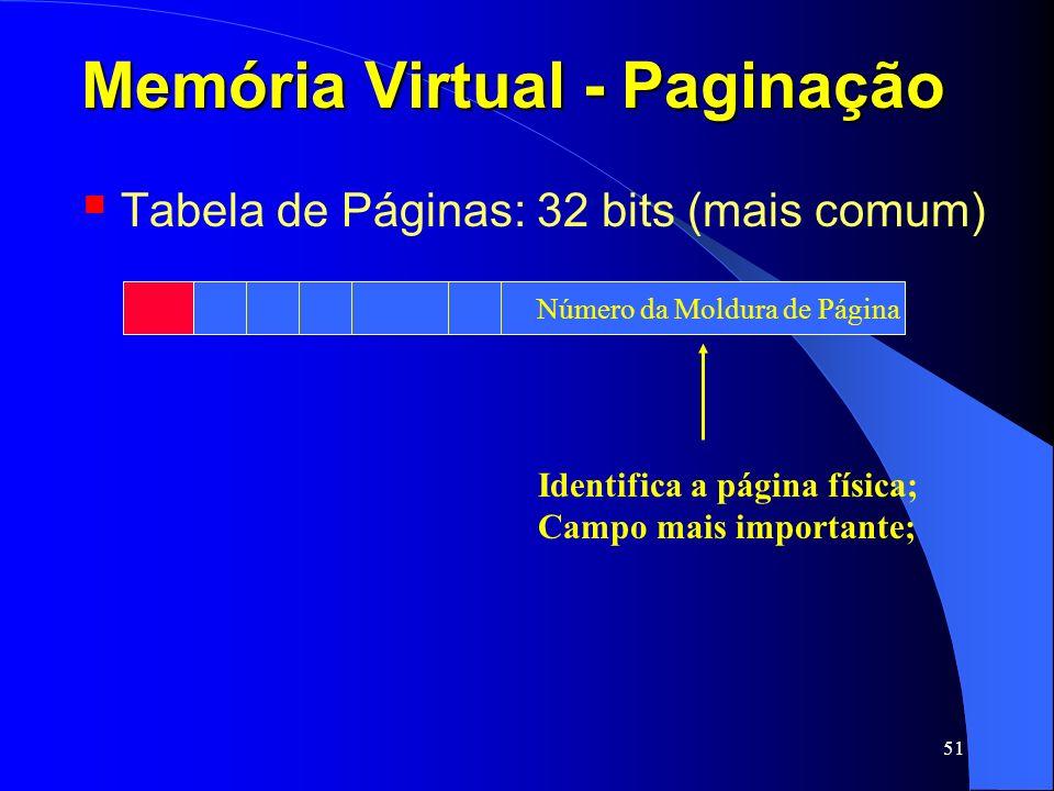51 Memória Virtual - Paginação Tabela de Páginas: 32 bits (mais comum) Identifica a página física; Campo mais importante; Número da Moldura de Página