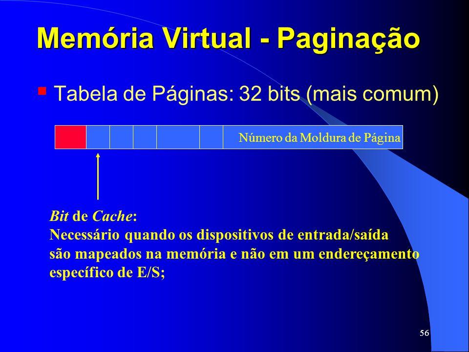 56 Memória Virtual - Paginação Tabela de Páginas: 32 bits (mais comum) Bit de Cache: Necessário quando os dispositivos de entrada/saída são mapeados n