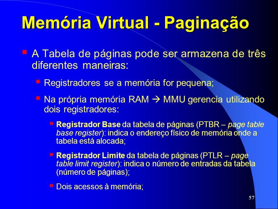 57 Memória Virtual - Paginação A Tabela de páginas pode ser armazena de três diferentes maneiras: Registradores se a memória for pequena; Na própria m