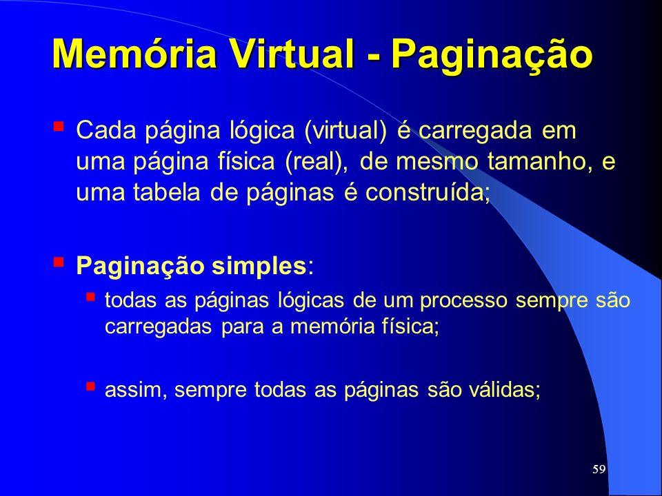 59 Memória Virtual - Paginação Cada página lógica (virtual) é carregada em uma página física (real), de mesmo tamanho, e uma tabela de páginas é const
