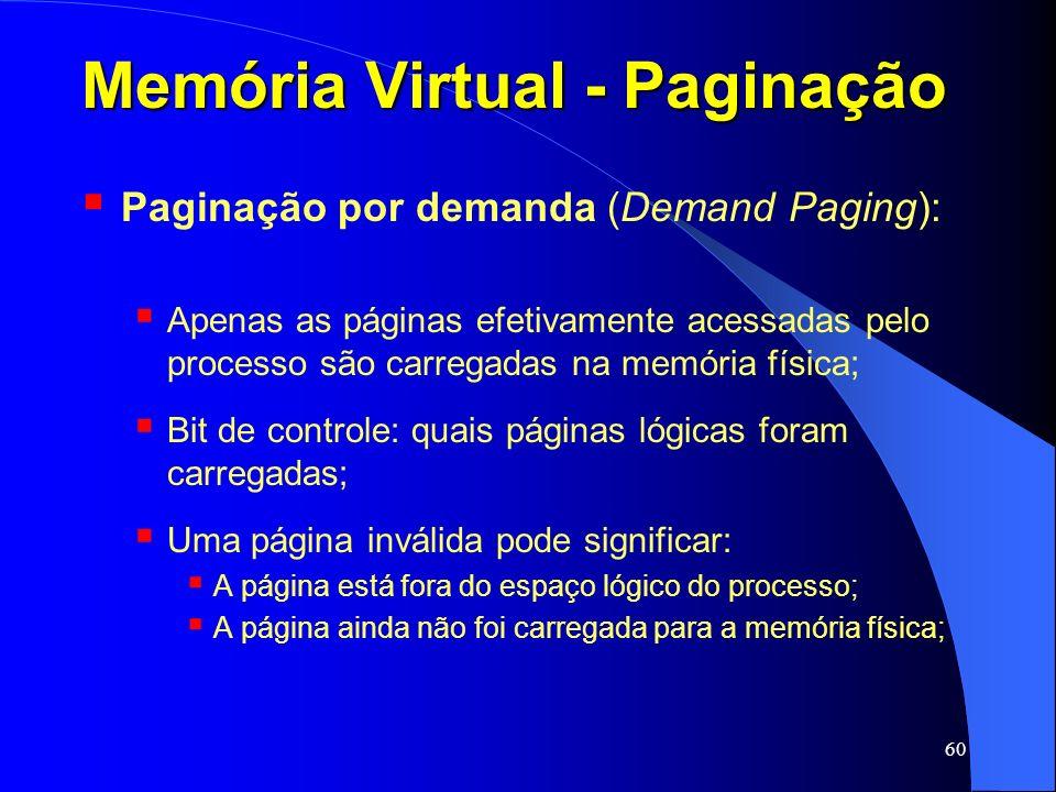 60 Memória Virtual - Paginação Paginação por demanda (Demand Paging): Apenas as páginas efetivamente acessadas pelo processo são carregadas na memória