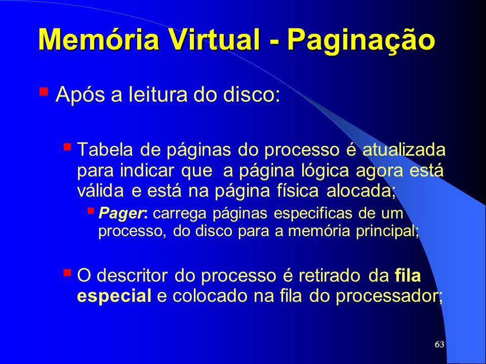 63 Memória Virtual - Paginação Após a leitura do disco: Tabela de páginas do processo é atualizada para indicar que a página lógica agora está válida