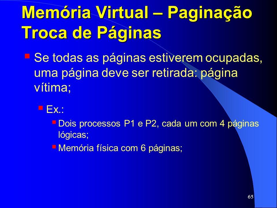 65 Memória Virtual – Paginação Troca de Páginas Se todas as páginas estiverem ocupadas, uma página deve ser retirada: página vítima; Ex.: Dois process