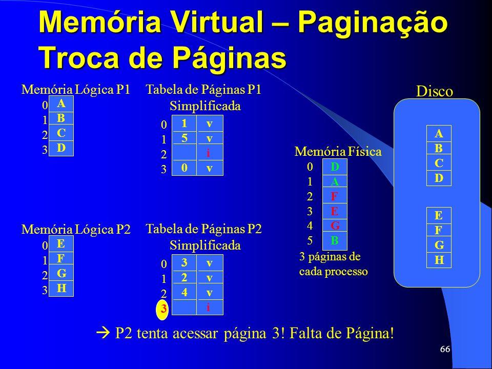 66 Memória Virtual – Paginação Troca de Páginas 01230123 ABCDABCD Memória Lógica P1 01230123 324324 vvvivvvi Tabela de Páginas P2 Simplificada 0123012