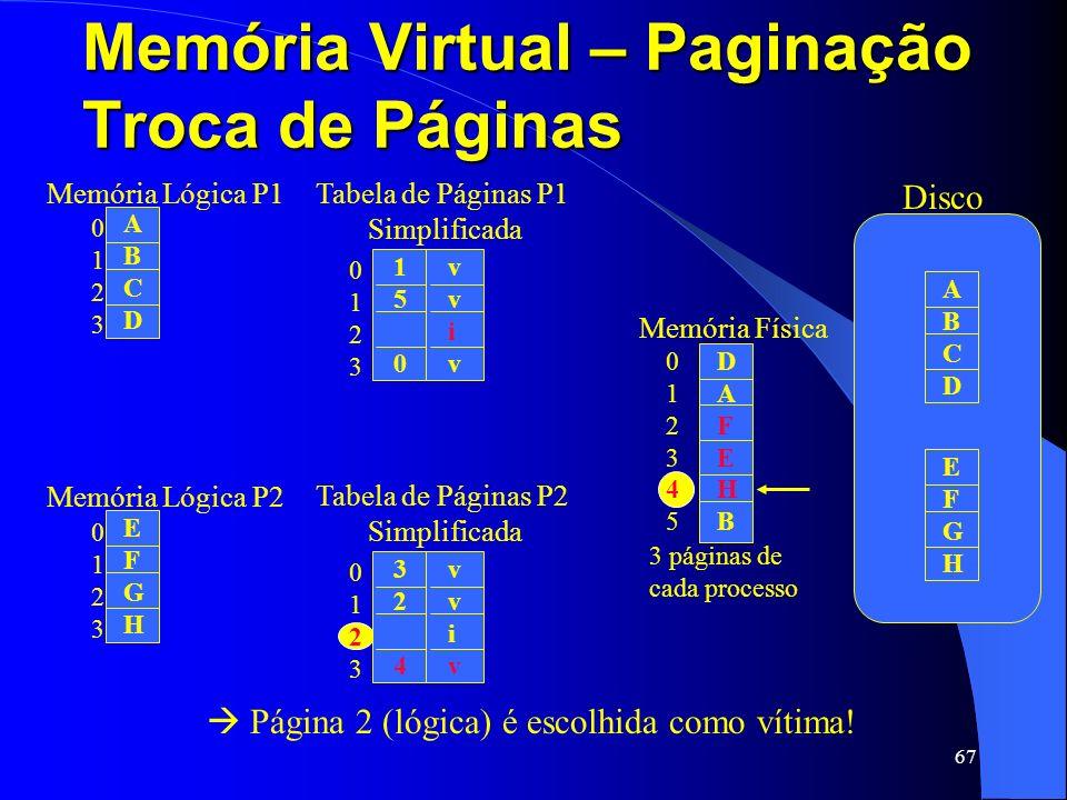 67 Memória Virtual – Paginação Troca de Páginas 01230123 ABCDABCD Memória Lógica P1 01230123 324324 vvivvviv Tabela de Páginas P2 Simplificada 0123012