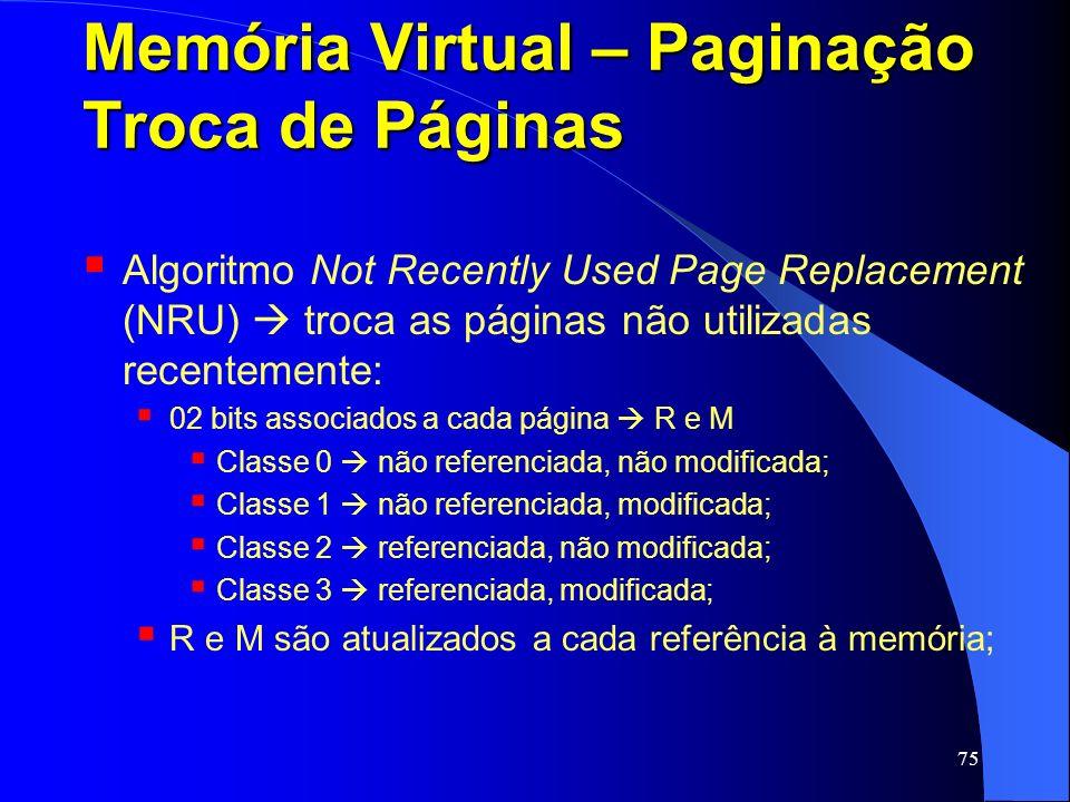 75 Memória Virtual – Paginação Troca de Páginas Algoritmo Not Recently Used Page Replacement (NRU) troca as páginas não utilizadas recentemente: 02 bi