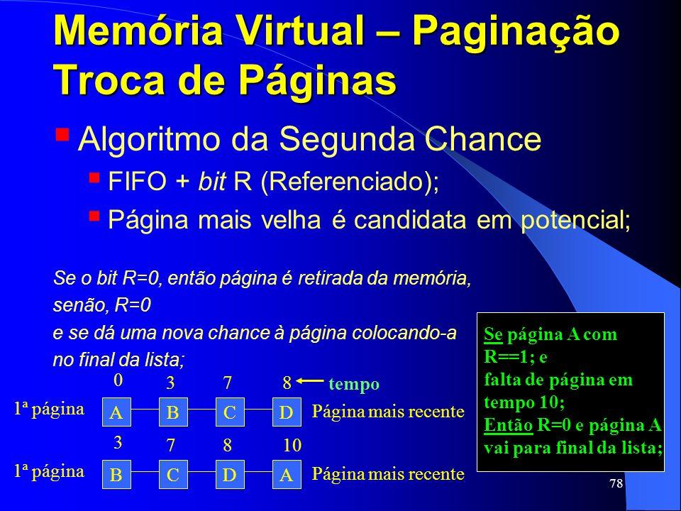 78 Memória Virtual – Paginação Troca de Páginas Algoritmo da Segunda Chance FIFO + bit R (Referenciado); Página mais velha é candidata em potencial; S