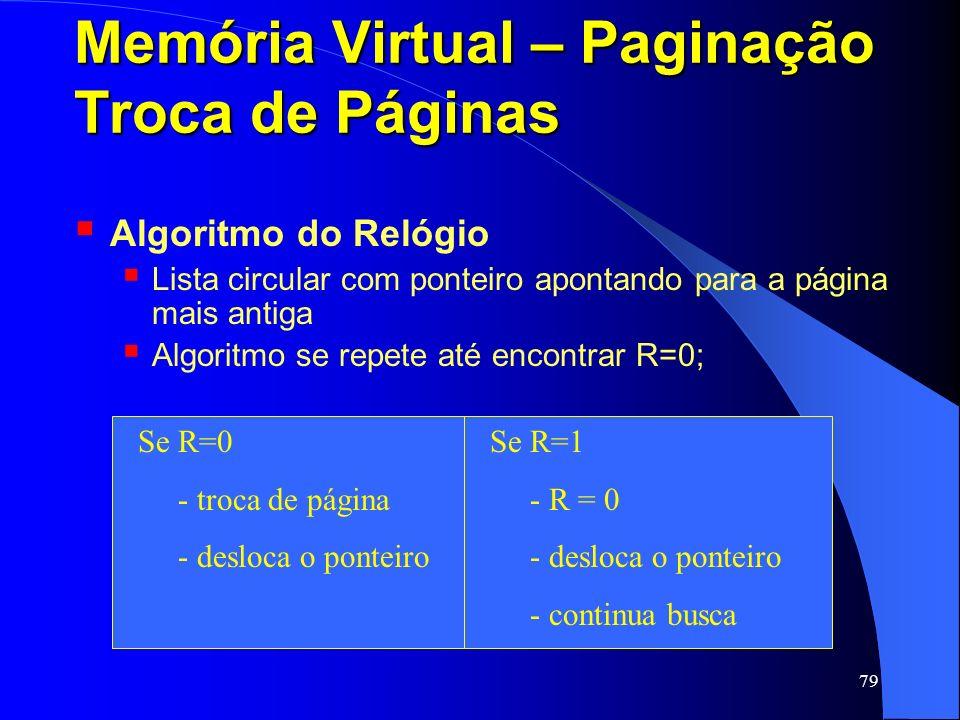 79 Memória Virtual – Paginação Troca de Páginas Algoritmo do Relógio Lista circular com ponteiro apontando para a página mais antiga Algoritmo se repe
