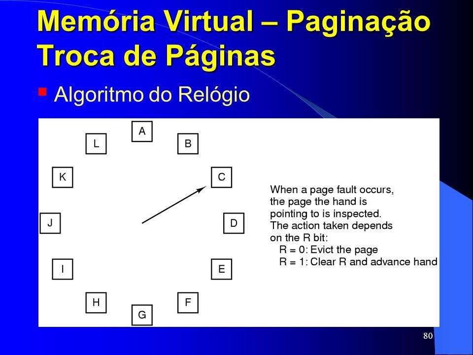 80 Memória Virtual – Paginação Troca de Páginas Algoritmo do Relógio