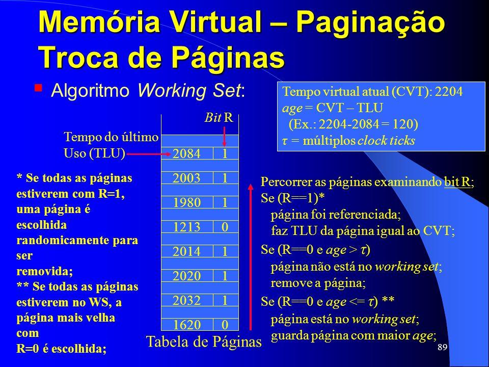 89 Memória Virtual – Paginação Troca de Páginas Tempo virtual atual (CVT): 2204 age = CVT – TLU (Ex.: 2204-2084 = 120) τ = múltiplos clock ticks Bit R
