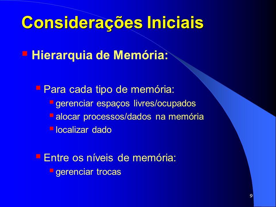 40 Memória Virtual Organização básica: Espaço de Endereçamento Lógico: todos os endereços lógicos que um processo pode gerar; depende do processador (barramento de endereços); Espaço de Endereçamento Físico: todos os endereços físicos aceitos pela memória principal (RAM); depende do tamanho da memória física (RAM);