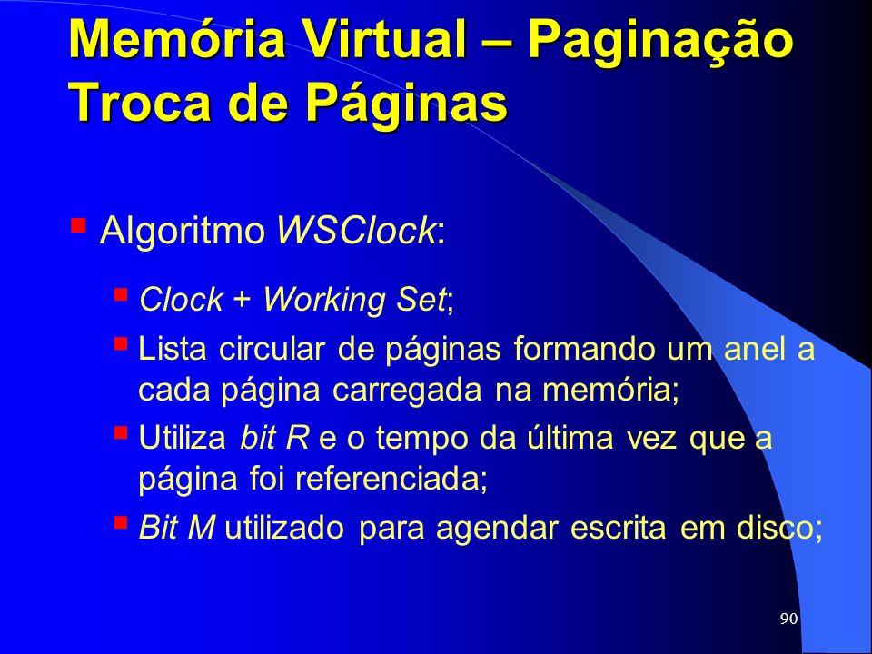 90 Memória Virtual – Paginação Troca de Páginas Algoritmo WSClock: Clock + Working Set; Lista circular de páginas formando um anel a cada página carre