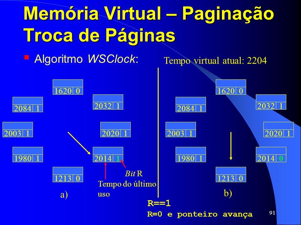 91 Memória Virtual – Paginação Troca de Páginas Algoritmo WSClock: Tempo virtual atual: 2204 Tempo do último uso 20031 20841 16200 20321 19801 12130 2