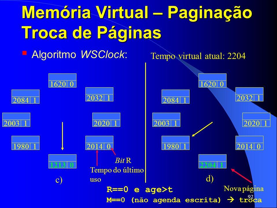 92 Memória Virtual – Paginação Troca de Páginas Algoritmo WSClock: Tempo virtual atual: 2204 Tempo do último uso 20031 20841 16200 20321 19801 12130 2
