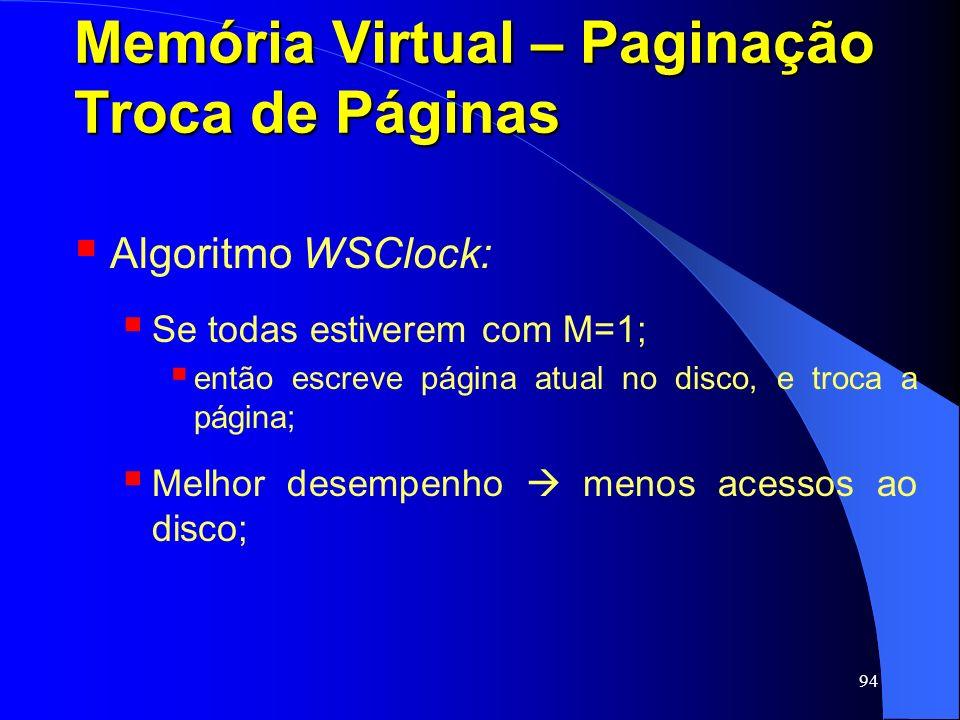 94 Memória Virtual – Paginação Troca de Páginas Algoritmo WSClock: Se todas estiverem com M=1; então escreve página atual no disco, e troca a página;
