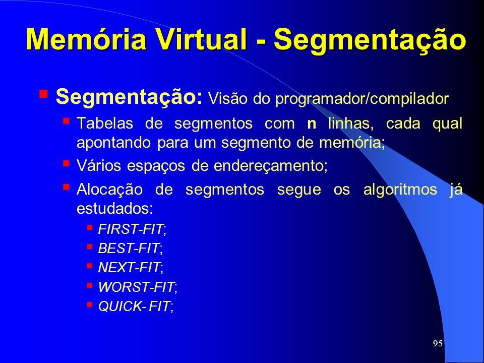 95 Memória Virtual - Segmentação Segmentação: Visão do programador/compilador Tabelas de segmentos com n linhas, cada qual apontando para um segmento