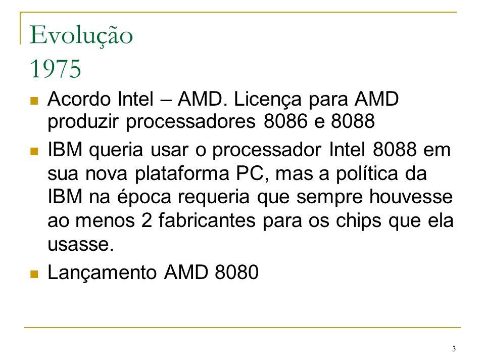 34 Phenom (K10) Primeiro processador quad-core (X4) da AMD para usuários domésticos Versões de 3 núcleos (X3) e com parte da cache desabilitada (chips com defeitos localizados) de modo a maximizar a produção Deu origem também a linha Athlon X2 7xxx, com dois núcleos desativados