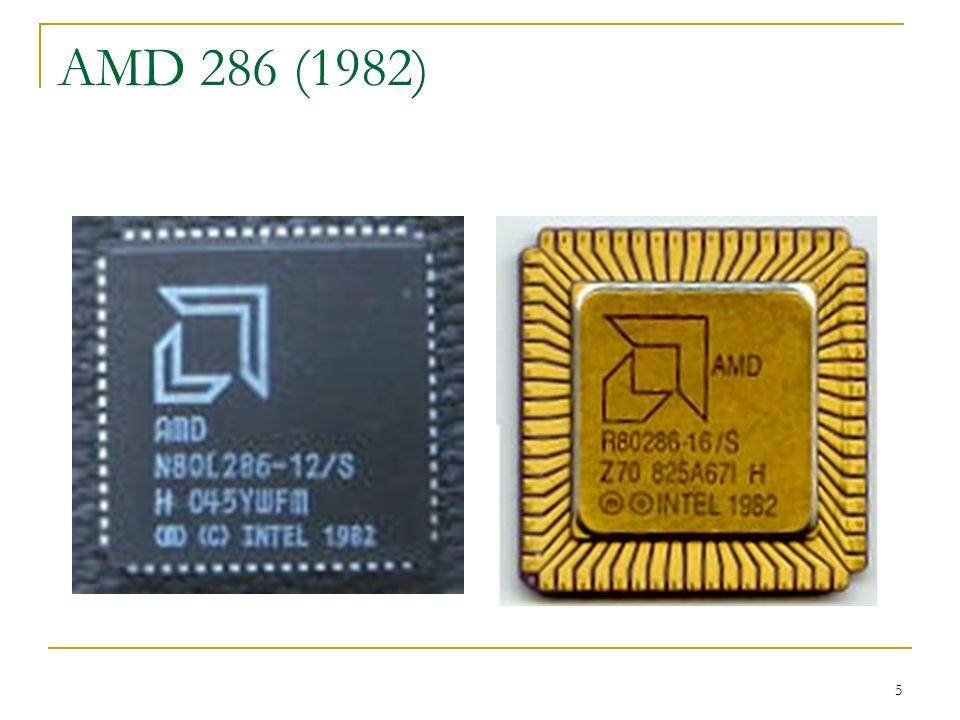 6 Evolução 1985 No início de 1985, a AMD lançou uma versão do 286 com algumas melhorias, o processador 386.