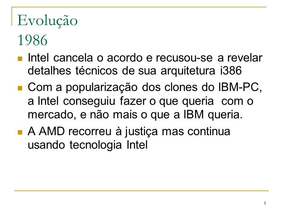 9 Evolução 1986 Intel entra na justiça contra AMD por violação de patente AMD começa a desenvolver sua própria tecnologia
