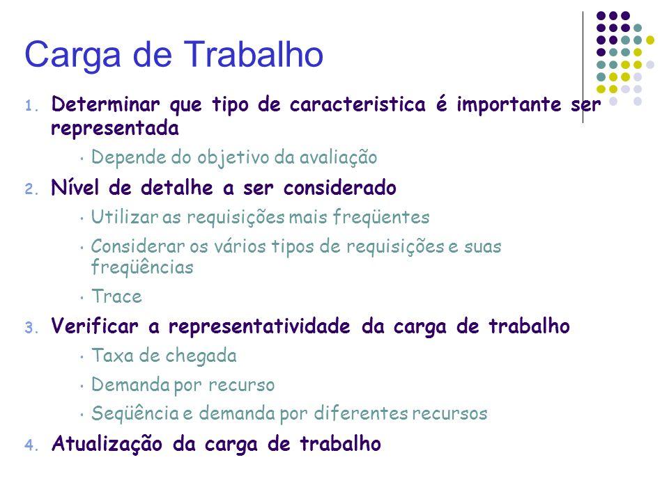 Carga de Trabalho 1. Determinar que tipo de caracteristica é importante ser representada Depende do objetivo da avaliação 2. Nível de detalhe a ser co
