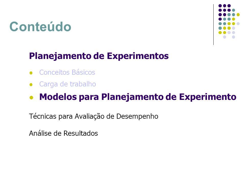 Planejamento Simples Planejamento Fatorial completo Planejamento Fatorial parcial Modelos para Planejamento de Experimentos