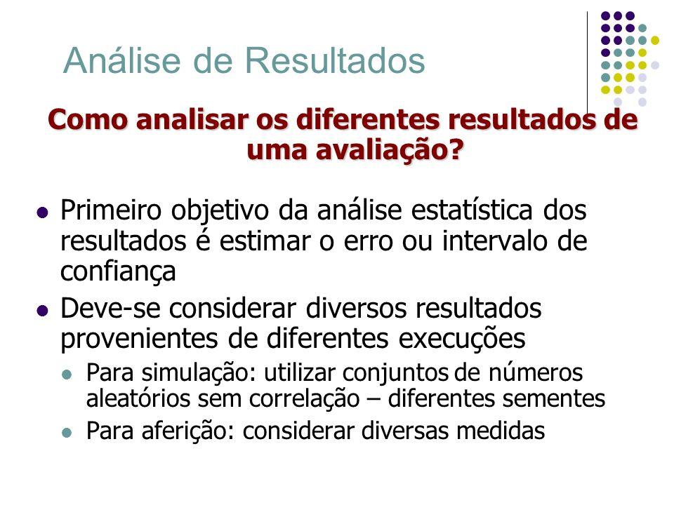 Análise de Resultados Como analisar os diferentes resultados de uma avaliação? Primeiro objetivo da análise estatística dos resultados é estimar o err