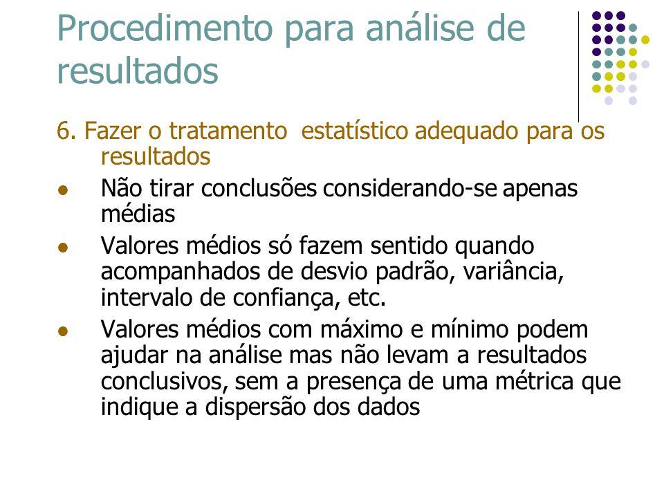 Procedimento para análise de resultados 6. Fazer o tratamento estatístico adequado para os resultados Não tirar conclusões considerando-se apenas médi