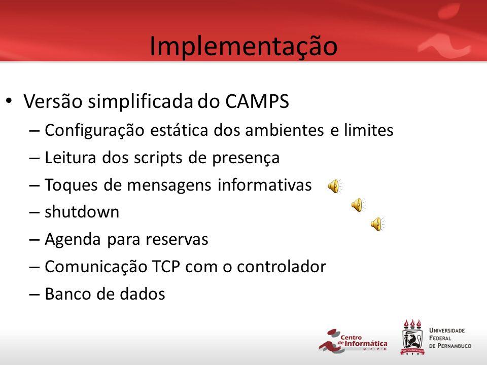 Implementação Versão simplificada do CAMPS Scripts de presença Controlador Diagrama unifilar do sistema Instalação dos dispositivos elétricos Medidor de energia Resultados obtidos
