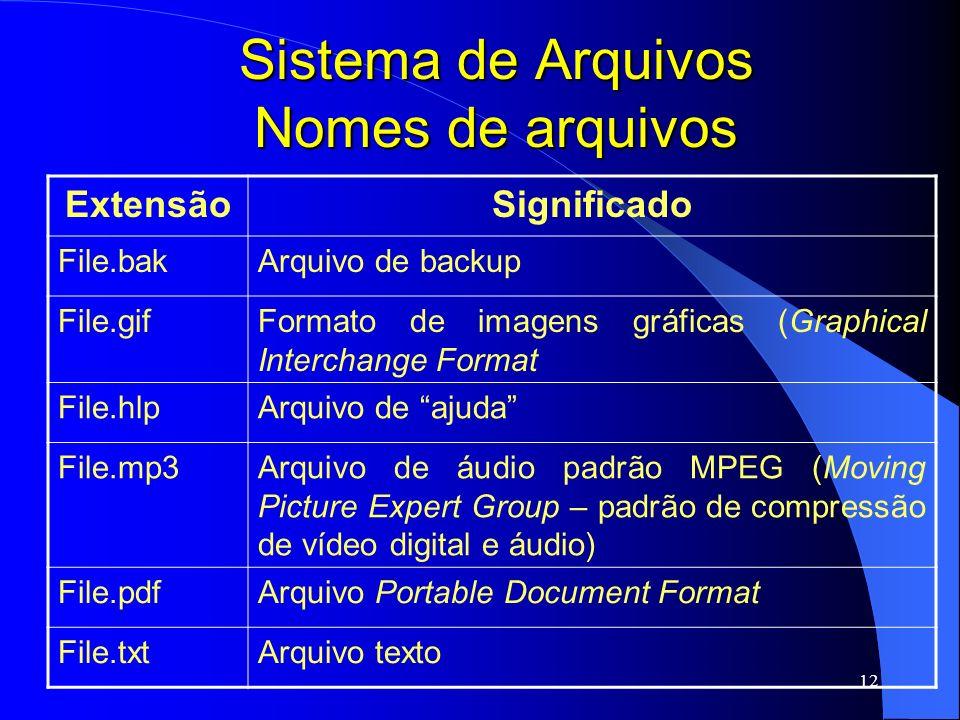 12 Sistema de Arquivos Nomes de arquivos ExtensãoSignificado File.bakArquivo de backup File.gifFormato de imagens gráficas (Graphical Interchange Form
