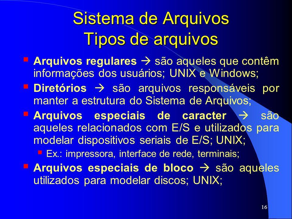 16 Sistema de Arquivos Tipos de arquivos Arquivos regulares são aqueles que contêm informações dos usuários; UNIX e Windows; Diretórios são arquivos r
