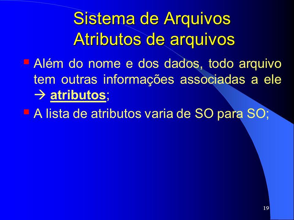 19 Sistema de Arquivos Atributos de arquivos Além do nome e dos dados, todo arquivo tem outras informações associadas a ele atributos; A lista de atri