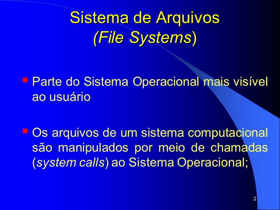 2 Sistema de Arquivos (File Systems) Parte do Sistema Operacional mais visível ao usuário Os arquivos de um sistema computacional são manipulados por
